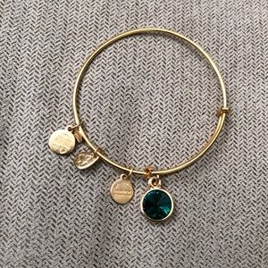 Alex and Ani May Birthstone Emerald Gold bracelet